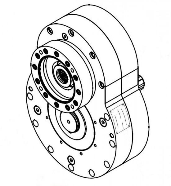 Puls Stirnradgetriebe mit Anbau für Hydraulikpumpe