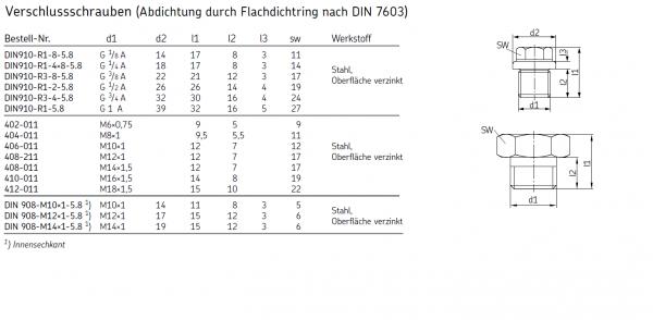 VERSCHLUSSSCHRAUBE DIN910-R1-2-5.8